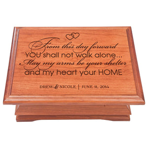 "Wedding Anniversary Personalized Jewelry Box ""My Heart Your Home"""