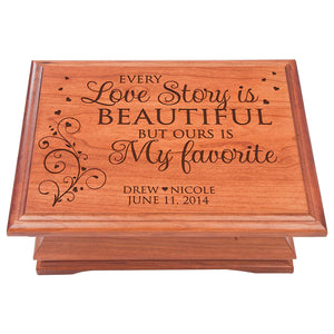 "Wedding Anniversary Personalized Jewelry Box ""Every Love Story"""
