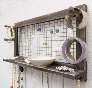 Get socal buttercup rustic jewelry organizer wall mount with bracelet pegs necklace holder earring hanger hanging mounted wooden shelf to display earrings necklaces and accessories from