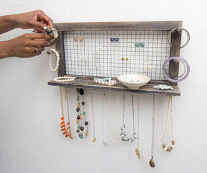 Home socal buttercup rustic jewelry organizer wall mount with bracelet pegs necklace holder earring hanger hanging mounted wooden shelf to display earrings necklaces and accessories from