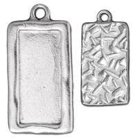 Simple Rectangle Frame Charm - Qty 2 - TierraCast Rhodium Silver Plated LEAD FREE Pewter