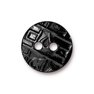 Round Coin Flat Buttons - Qty 3 Buttons - TierraCast Black Ox Plated LEAD FREE Pewter