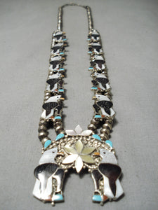 Eagle Vintage Native American Zuni Navajo Turquoise Sterling Silver Squash Blossom Necklace