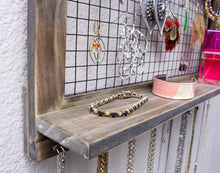 Load image into Gallery viewer, Heavy duty socal buttercup rustic jewelry organizer wall mount with bracelet pegs necklace holder earring hanger hanging mounted wooden shelf to display earrings necklaces and accessories from
