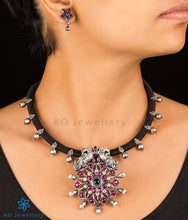 Load image into Gallery viewer, The Anulasya Antique Silver Peacock Necklace (Oxidised)