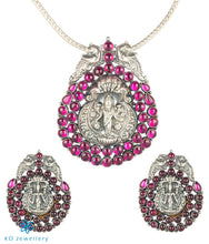Load image into Gallery viewer, The Nagar Lakshmi Silver Pendant (Oxidised)