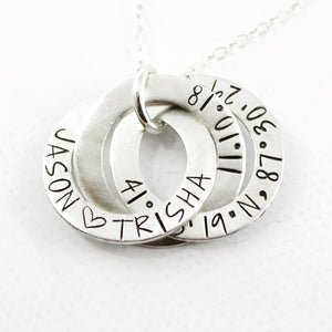 Three Ring Russian Ring Necklace - Can be personalized with your choice of text