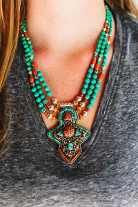 Turquoise and Amber Traditional Karma Necklace