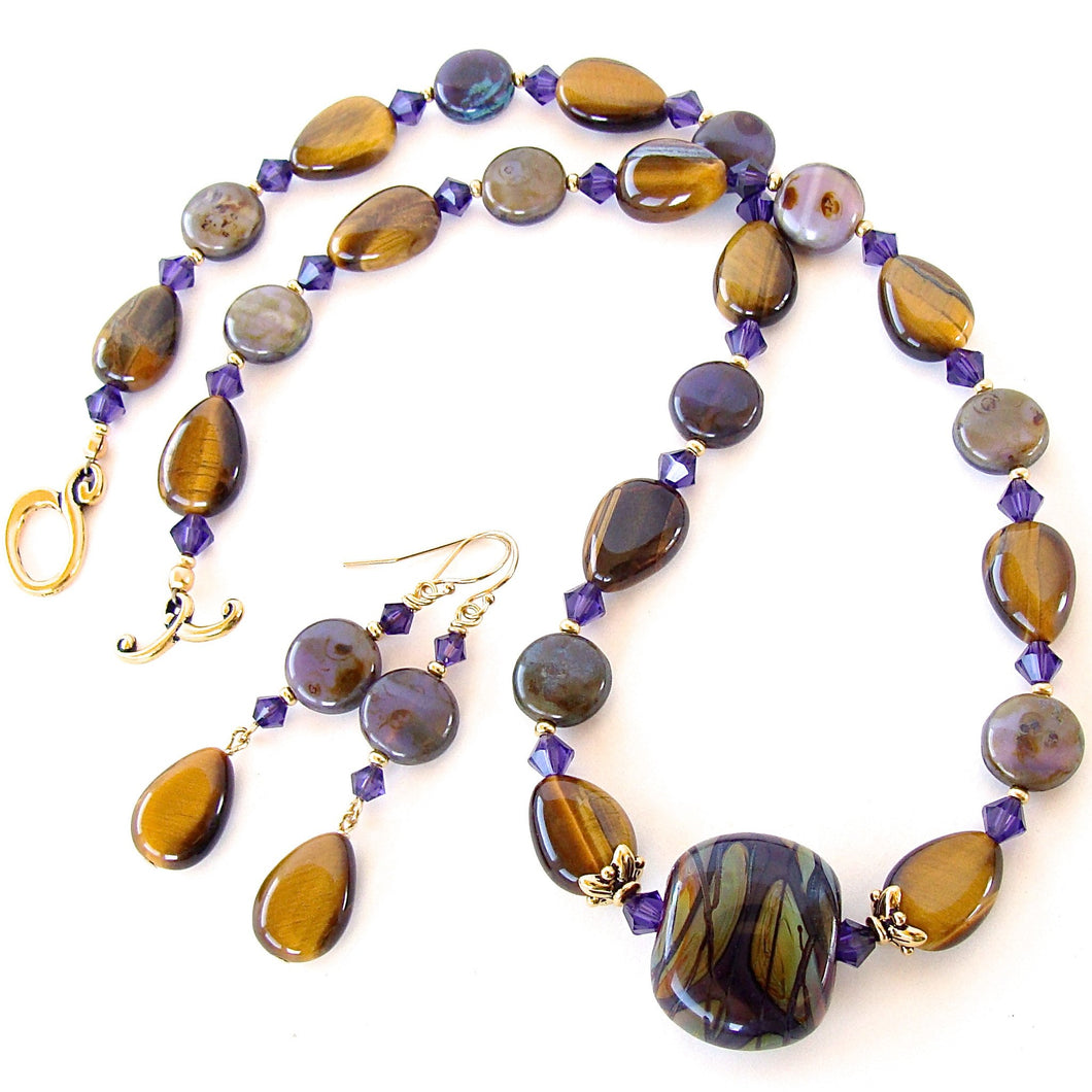 Yvonne: Art Glass Necklace with Tigers Eye Gemstones