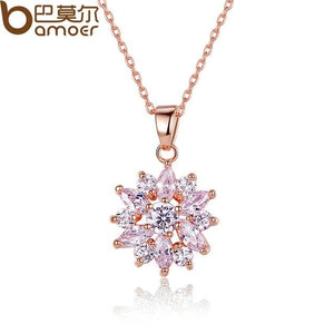 White Gold Color Necklaces Pendants with White AAA Cubic Zirconia