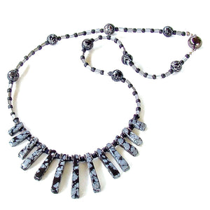 Saturn's Lair: Black and Gray Gemstone Necklace