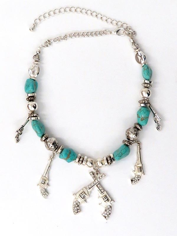 Turquoise and Crystals Cross Gun Necklace NC55421