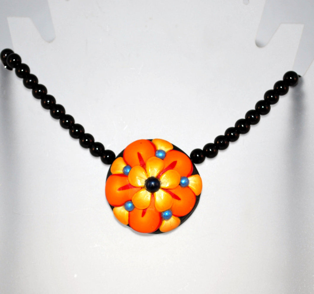 Yellow and Orange Flower Pendant Beaded Necklace for Women, Fashion Jewelry