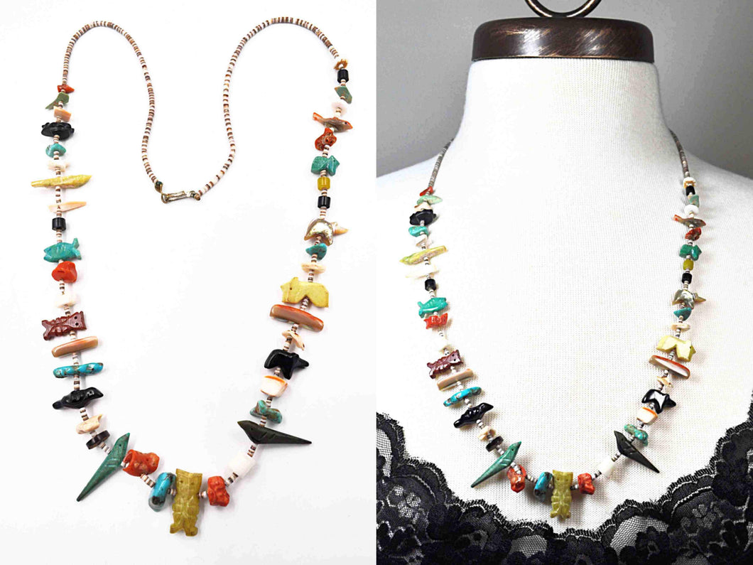 Vintage Zuni Native American Carved Multi-Stone Multi-Color Beaded Animal Long Necklace #c699