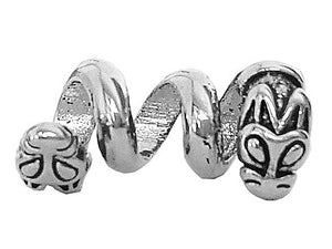 New! Double Headed Dragon Hair Bead - Silver - Mini