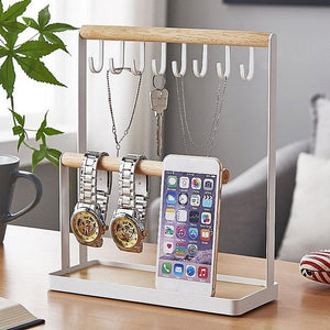 Desktop Jewelry Storage Rack Portable Hook Storage Metal Frame for Watch Bracelet Necklace, etc.