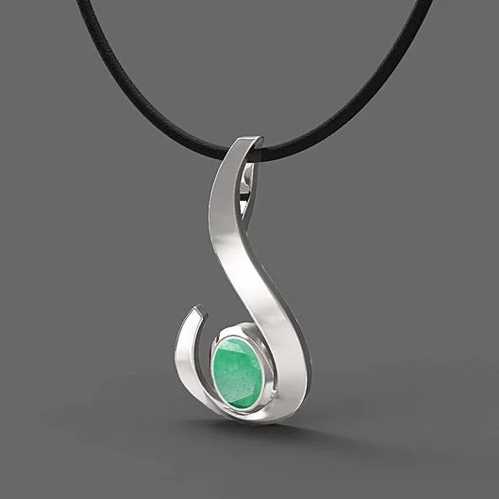 FANY Jewelry Excellent Cut White Gold Emerald Gemstone May Birthstone 14 Solid Gold Necklace Pendant With Natural Mined Gemstone