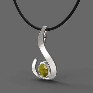 FANY Jewelry Excellent Cut August Birthstone White Gold Peridot 14 Solid Gold Necklace Pendant With Natural Mined Gemstone