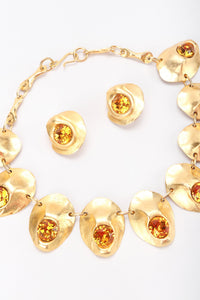 Modernist Oyster Collar Necklace & Earring Set