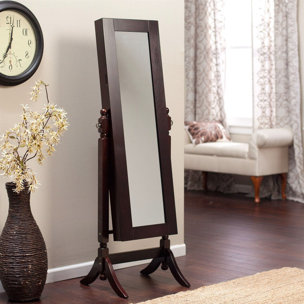 Jewelry Armoire and Full-Length Tilting Mirror in Espresso Brown Wood Finish