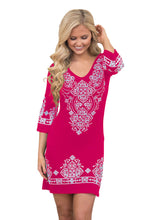 Load image into Gallery viewer, Her Retro Rosy Tribal Style Pattern Flattering Short Dress