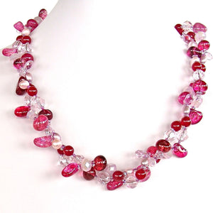 "Radiant Treasures: 20.5"" Hot Pink Necklace"