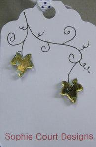 Ivy Leaf Design Stud Earrings - Gold and Blue