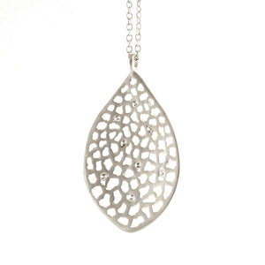 Large Lacy Leaf 8 Diamond Necklace by Branch