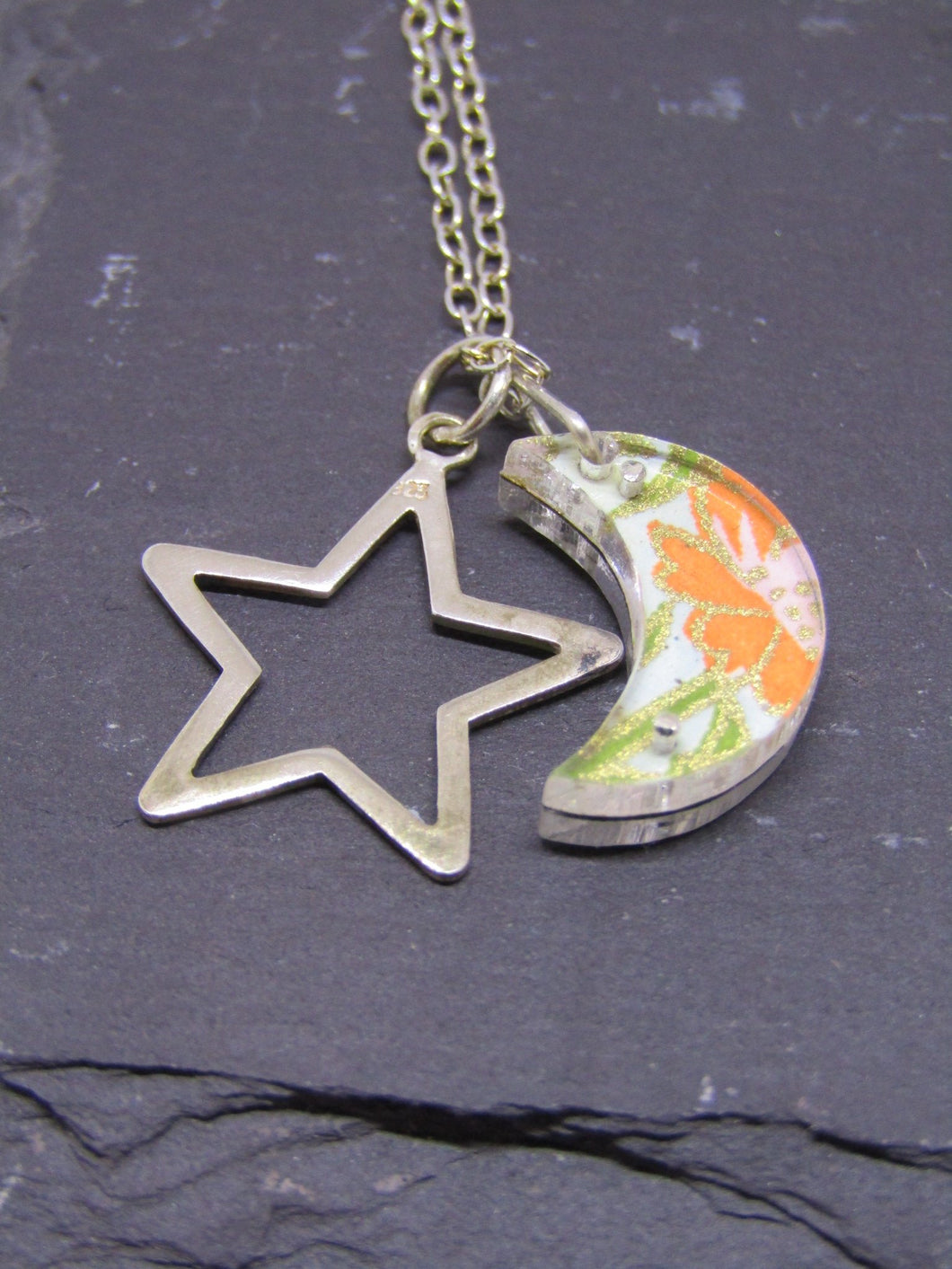 Moon and Star Design Reversible Necklace