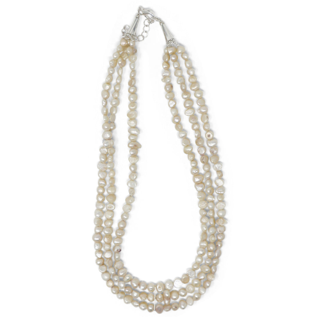 Triple Strand Freshwater Pearl Necklace