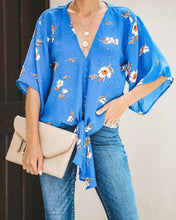 Load image into Gallery viewer, Elaborate Affair Kimono Tie Top - Cornflower - FINAL SALE