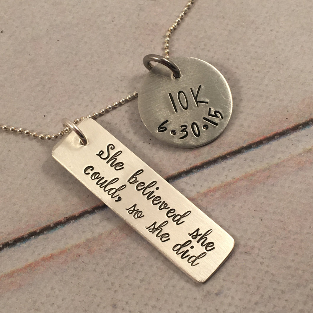 Runner's necklace - Marathon or half-marathon, 5K, 10K