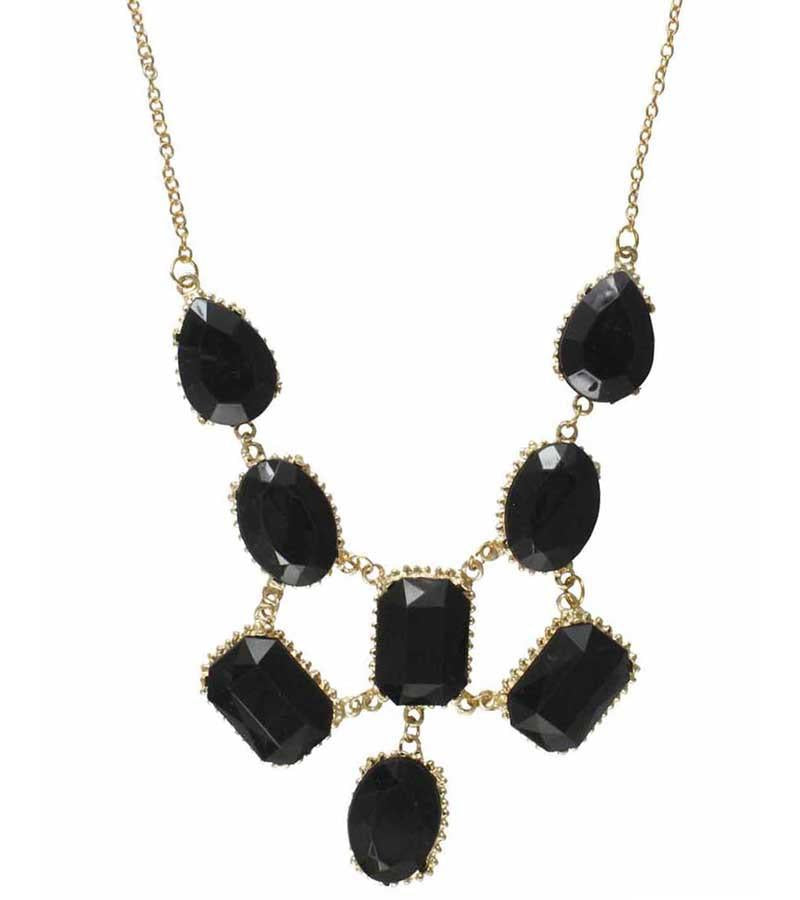 GoldPlated Black Stone Statement Necklace