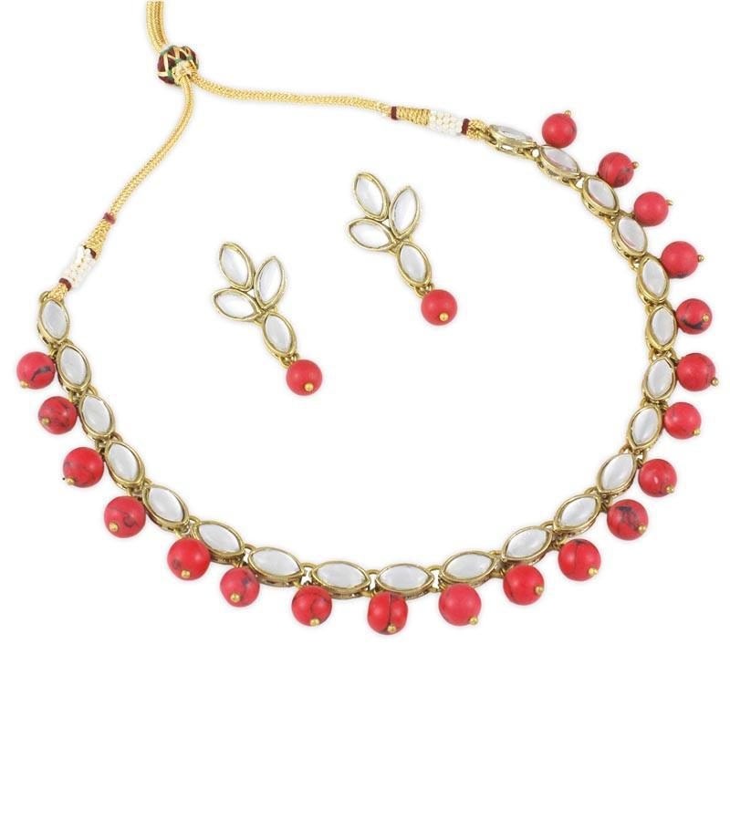 Red Turquoise Boat Shape Choker Necklace set