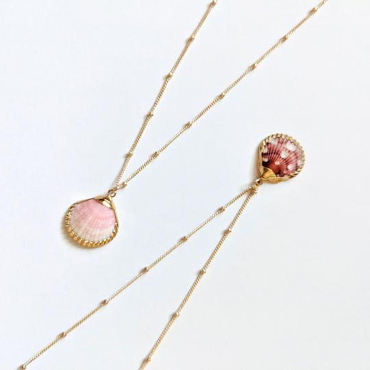 Necklace - Dark Pink Clam Shell - Inspire Gold Chain - 16