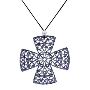 Lacey Black Cross Necklace