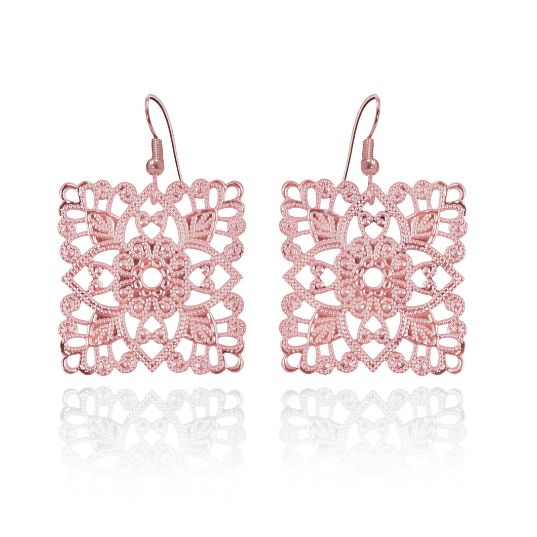 Lacey Square Rose Gold Earrings
