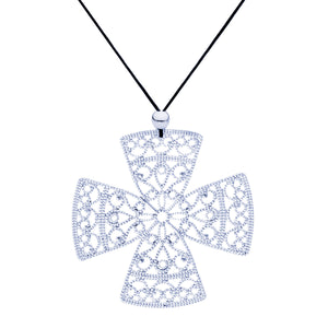 Lacey Silver Cross Necklace