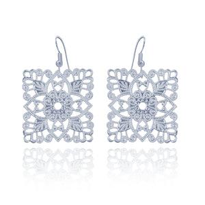 Lacey Square Silver Earrings
