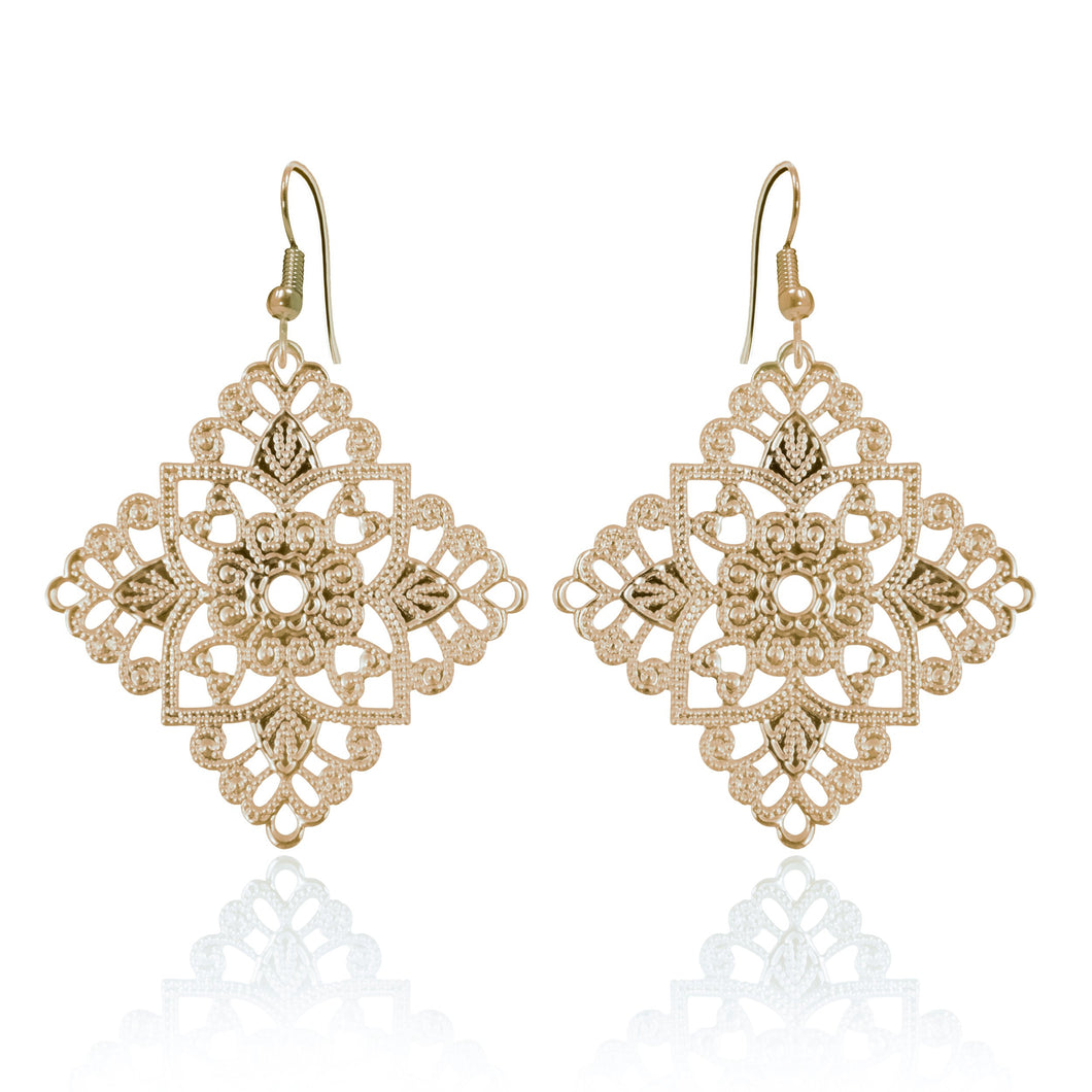 Lacey Diamond Yellow Gold Earrings