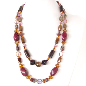 "Suede: 46"" Long Chunky Necklace"