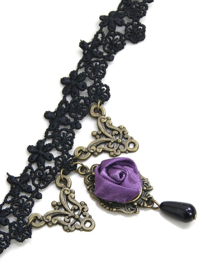 Handmade Gothic Victorian Wedding Party Black Lace with Purple Rose Chain Necklace