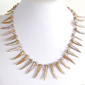 "Super Nova: 19"" Mother of Pearl Statement Necklace"