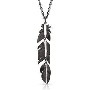 Moonlit Melody Black Feather Necklace