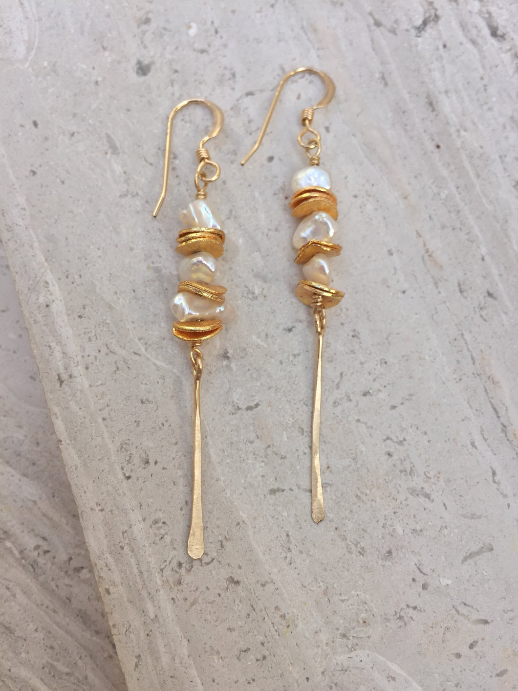 Pearl & Sequin Line Earrings