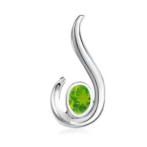 FANY Jewelry 925 Sterling Peridot Gemstone Women Charm Argentium Silver Necklaces Pendant 0.39 ct