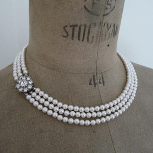 Rhinestone Flower Three String Pearl Necklace
