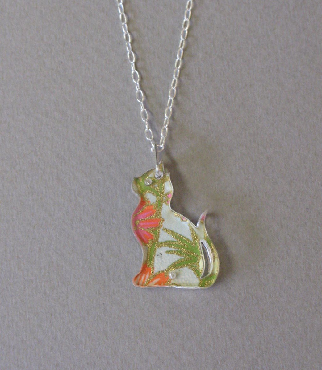 Sitting Cat - Orange, Blue & Pink, Green Necklace. Reversible Design by Sophie Court