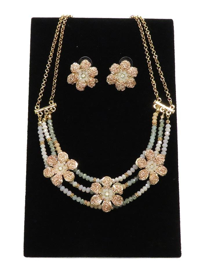Floral Lace Pink Necklace & Earrings Jewelry Set NCSET-GOLD