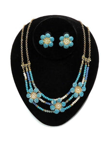 Floral Lace Turquoise & Blue Jewelry Set NCSET-TUR